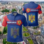 Romania Coat Of Arms Simple Style All Over Print Polo Shirt