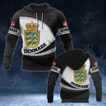 Denmark Coat Of Arms Map - New Form All Over Print Hoodies