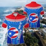 Puerto Rico Circle Stripes Flag Version All Over Print Polo Shirt