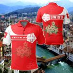 Switzerland Coat Of Arms Simple Style All Over Print Polo Shirt