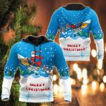 Santa Snowboarding All Over Print Shirts