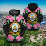 Honduras Coat Of Arms Flowers All Over Print Hoodies
