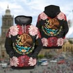 Mexico Coat Of Arms Flowers All Over Print Hoodies