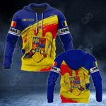 Customize Romania Coat Of Arms Paint Style All Over Print Hoodies