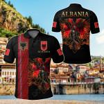 Albania Black All Over Print Polo Shirt