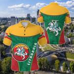 Lithuania - Lietuva Circle Stripes Flag Proud Version All Over Print Polo Shirt