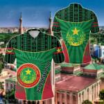 Mauritania Circle Stripes Flag Version All Over Print Polo Shirt