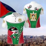 Palestine Independence Circle Stripes Flag Proud Version All Over Print Polo Shirt