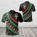 Pan African - Ankh Wirh Pan-Africanism Flag All Over Print Polo Shirt