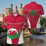 Wales Celtic Circle Stripes Flag Version Dragon All Over Print Polo Shirt
