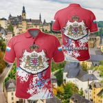 Luxembourg Coat Of Arms Spaint Style All Over Print Polo Shirt