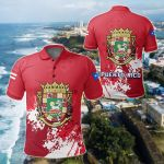 Puerto Rico Coat Of Arms Spaint Style All Over Print Polo Shirt