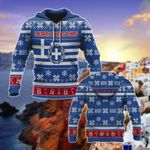 Greece Coat Of Arms & Flag Merry Christmas All Over Print Hoodies