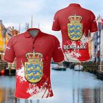 Denmark Coat Of Arms Spaint Style All Over Print Polo Shirt