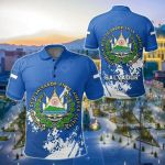 El Salvador Coat Of Arms Spaint Style All Over Print Polo Shirt