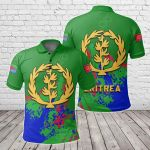 Eritrea Coat Of Arms Spaint Style All Over Print Polo Shirt