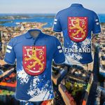 Finland Coat Of Arms Spaint Style All Over Print Polo Shirt