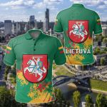 Lithuania Coat Of Arms Spaint Style All Over Print Polo Shirt