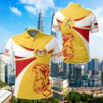 Malaysia Round Coat Of Arms Lion All Over Print Polo Shirt