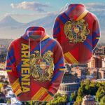 Armenia Flag Painting Style All Over Print Hoodies