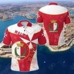 Malta Circle Stripes Flag With Maltese Cross All Over Print Polo Shirt