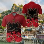 Albania Flag Double Eagle Hand All Over Print Polo Shirt