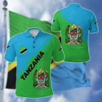 Tanzania Uhuru na Umoja Version All Over Print Polo Shirt