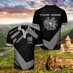 Customize Armenia Coat Of Arms New Design - Black & Gray All Over Print Polo Shirt