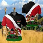 Kenya Impressive Flag All Over Print Polo Shirt