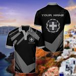 Customize Greece Coat Of Arms New Design - Black & Gray All Over Print Polo Shirt