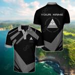 Customize Nicaragua Coat Of Arms New Design - Black & Gray All Over Print Polo Shirt