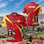 Uganda Swirly Flag Coat Of Arms All Over Print Polo Shirt