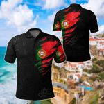 Portugal In Me Special Grunge Style All Over Print Polo Shirt