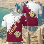 Qatar Smudge Version All Over Print Polo Shirt