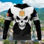 Andorra Coat Of Arms Skull - Black And White All Over Print Hoodies