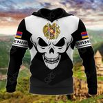 Armenia Coat Of Arms Skull - Black And White All Over Print Hoodies
