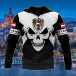 Austria Coat Of Arms Skull - Black And White All Over Print Hoodies
