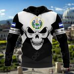 El Salvador Coat Of Arms Skull - Black And White All Over Print Hoodies