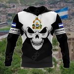 Honduras Coat Of Arms Skull - Black And White All Over Print Hoodies