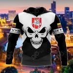 Lithuania Coat Of Arms Skull - Black And White All Over Print Hoodies