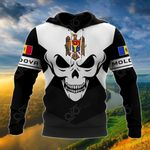 Moldova Coat Of Arms Skull - Black And White All Over Print Hoodies