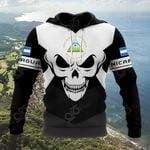 Nicaragua Coat Of Arms Skull - Black And White All Over Print Hoodies