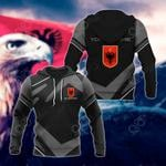 Customize Albania Coat Of Arms New Design - Black & Gray All Over Print Hoodies