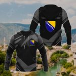 Customize Bosnia Coat Of Arms New Design - Black & Gray All Over Print Hoodies