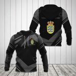 Customize Denmark Coat Of Arms New Design - Black & Gray All Over Print Hoodies