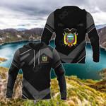 Customize Ecuador Coat Of Arms New Design - Black & Gray All Over Print Hoodies