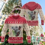 Christmas - Koala Climbing Tree Symbol All Over Print Hoodies