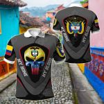 America My Home Colombia My Blood Skull - Eagle All Over Print Polo Shirt