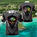 America My Home Jamaica My Blood Skull - Eagle All Over Print Polo Shirt