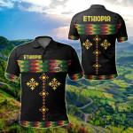 Ethiopia Rasta Round Pattern Black All Over Print Polo Shirt